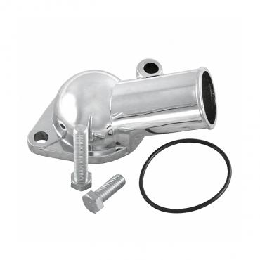 Corvette Thermostat Housing, Without Emission Port, Small Block, Chrome, 1966-1978, 1982