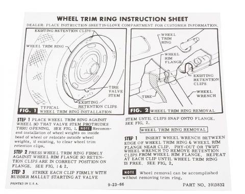 Corvette Card, Trim Ring-Glove Box, 1967-1972