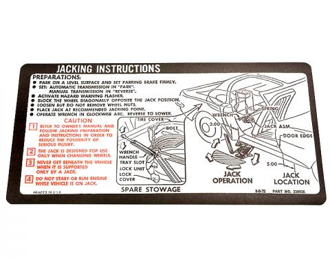 Corvette Decal, Jacking Instruction, 1973-1974