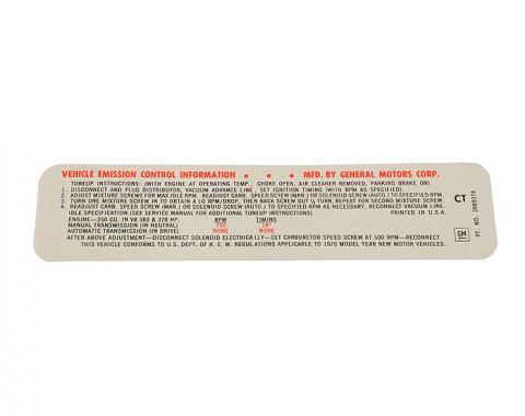 Corvette Label, Emission 370 HP LT-1, 1970