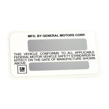 Corvette Label, Certification 75L, 1975-1977