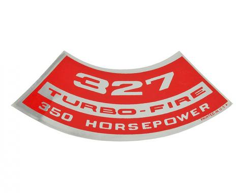 Corvette Air Cleaner Decal 327 Turbo Fire, 350 HP, 1967-1968