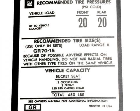 Corvette Decal, Tire Pressure on Door, 1973-1975
