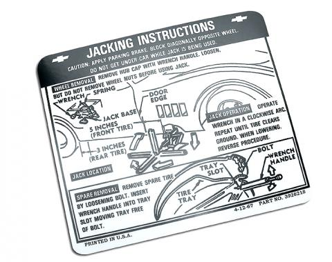 Corvette Decal, Jacking Instruction, 1968-1972