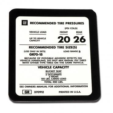 Corvette Decal, Tire Pressure 75L, 1975-1977