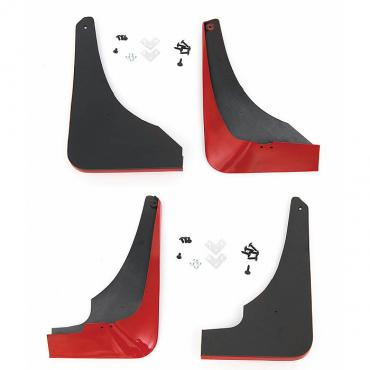 Corvette Splash Guards, Body Contoured, Front & Rear, Torch Red, Altec, 1997-2004