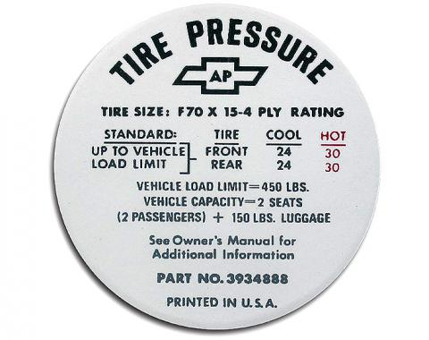 Corvette Decal, Tire Pressure-Glovebox, 1968-1972