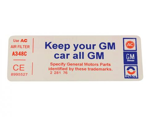 Corvette Decal, Air Cleaner Keep Your GM Car All GM, 1977