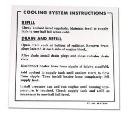 Corvette Decal, Coolant Instructions 65 396/67 L88, 1965-1967