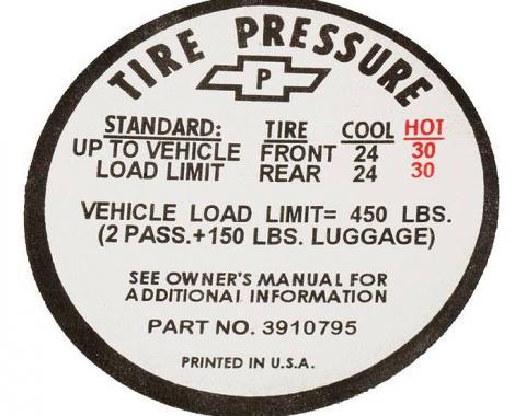 Corvette Decal, Tire Pressure-Glovebox, 1967